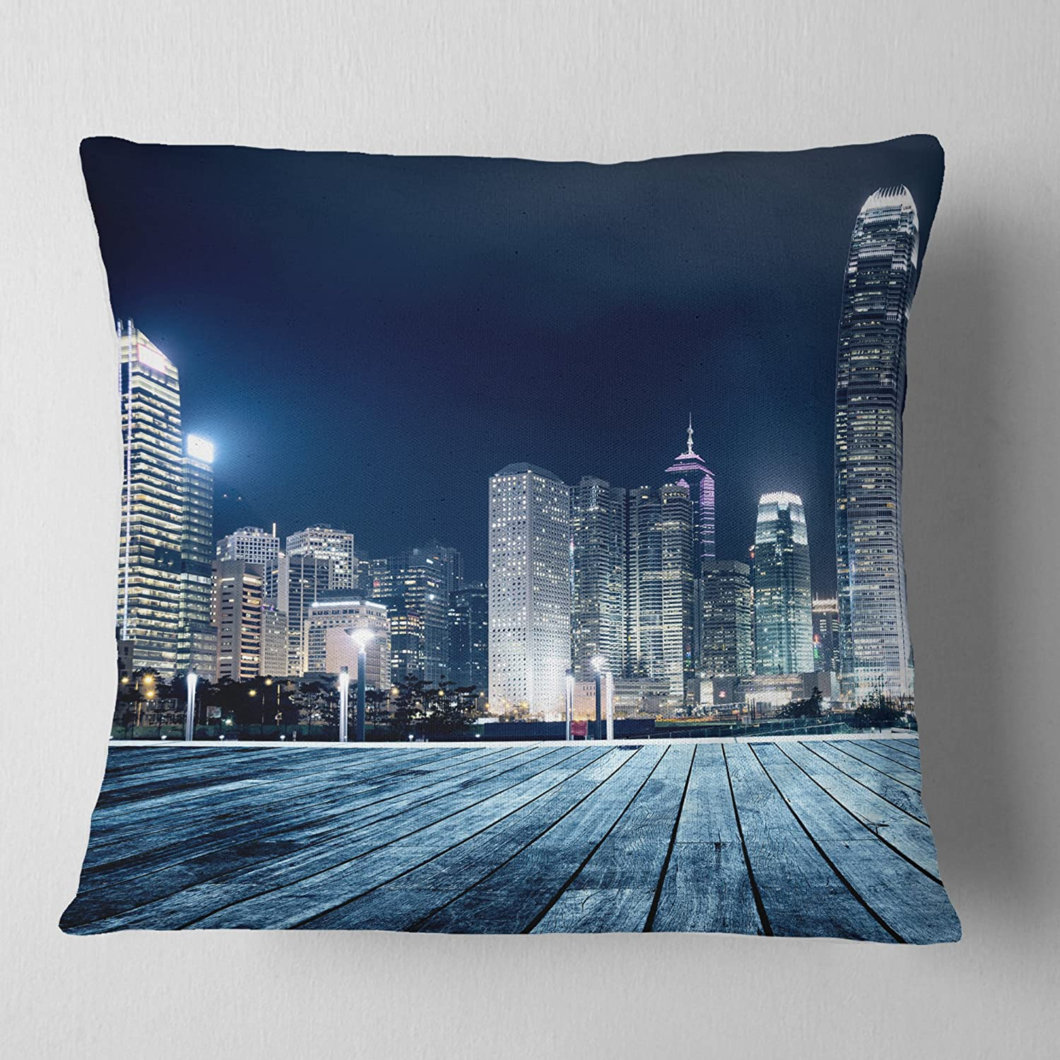 in Insert Printed On Both Side x 18 in Sofa Throw Pillow 18 in Designart CU9889-18-18 Blue Hong Kong City Skyline Cityscape Cushion Cover for Living Room