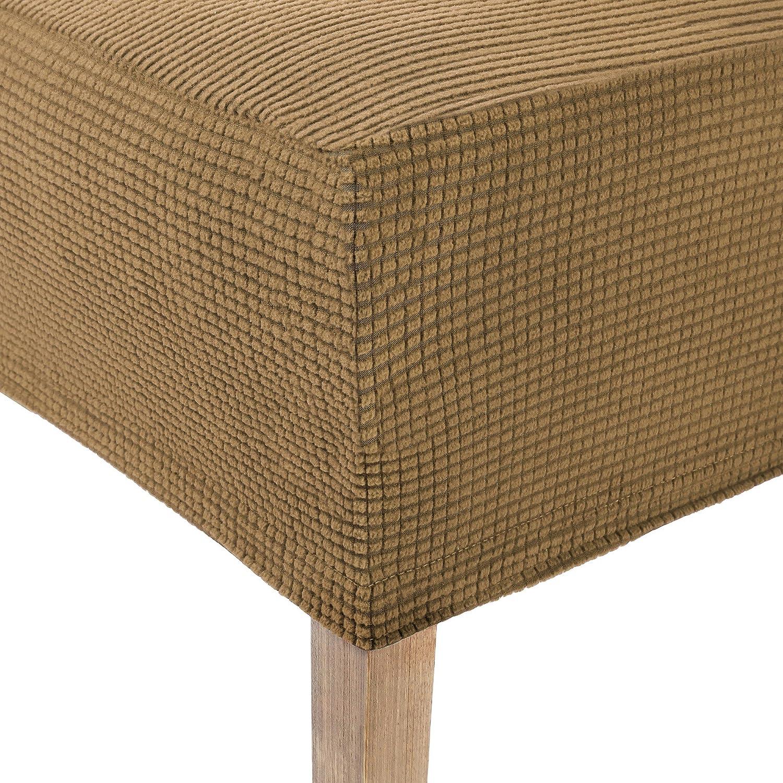 Stuhlabdeckung elastisch SCHEFFLER-Home Sofia 2er Pack Stuhlhussen Stretch Chenille Spannbezug mit Gummizug wei/ß-Ecru