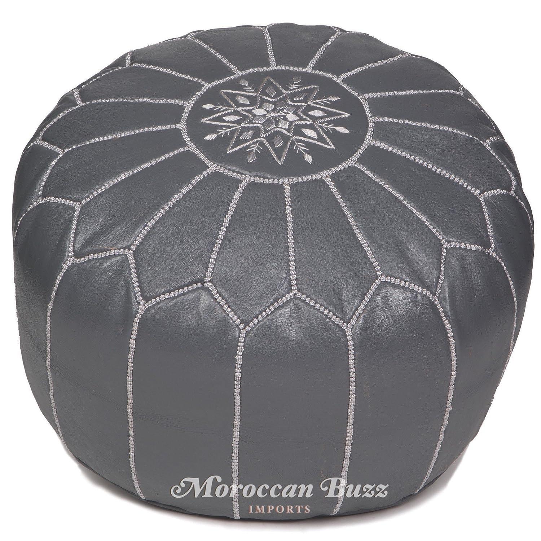 Moroccan Buzz Premium Leather Pouf Ottoman Cover, Grey (Unstuffed Pouf) 13HD-PO-GY-UN