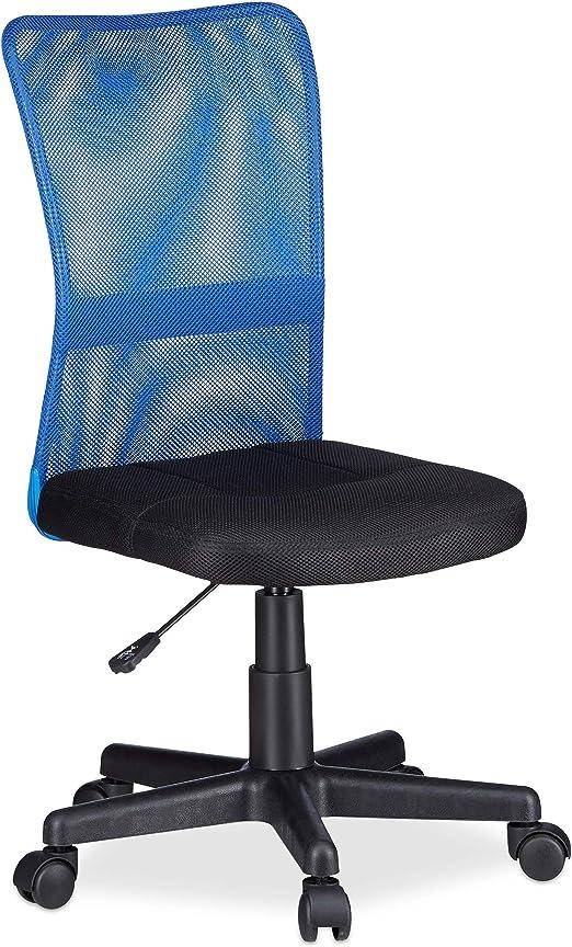 Relaxdays Silla Oficina Ergonómica Regulable, Azul, 102 x 55 x 55 ...
