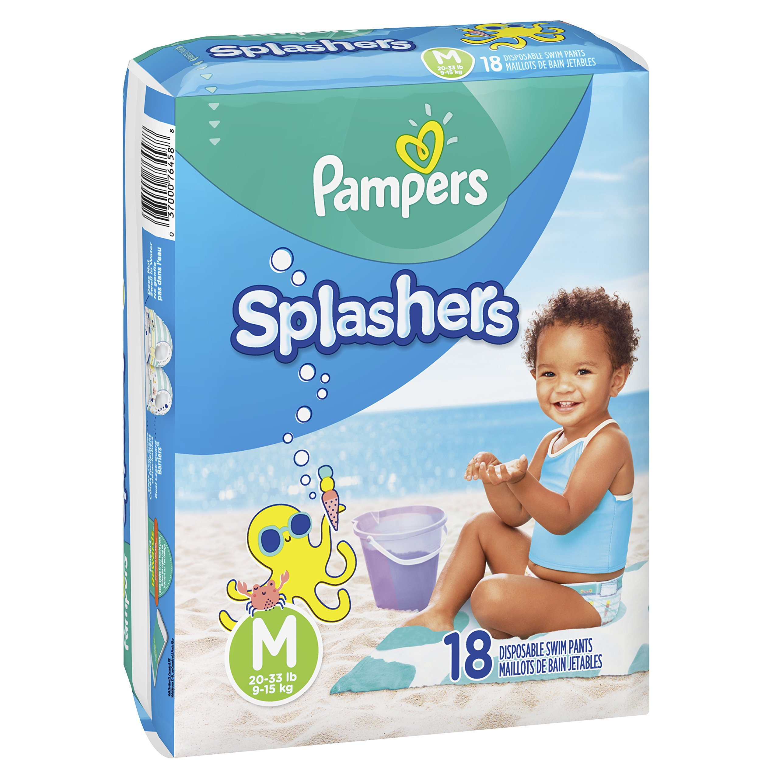 Swim Diapers Size 4 (20-33 lb), 18 Count - Pampers Splashers Disposable Swim Pants, Medium, Pack of 2 by Pampers