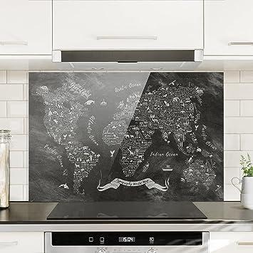Alternative Küchenspiegel bilderwelten spritzschutz glas kreide typografie weltkarte quer