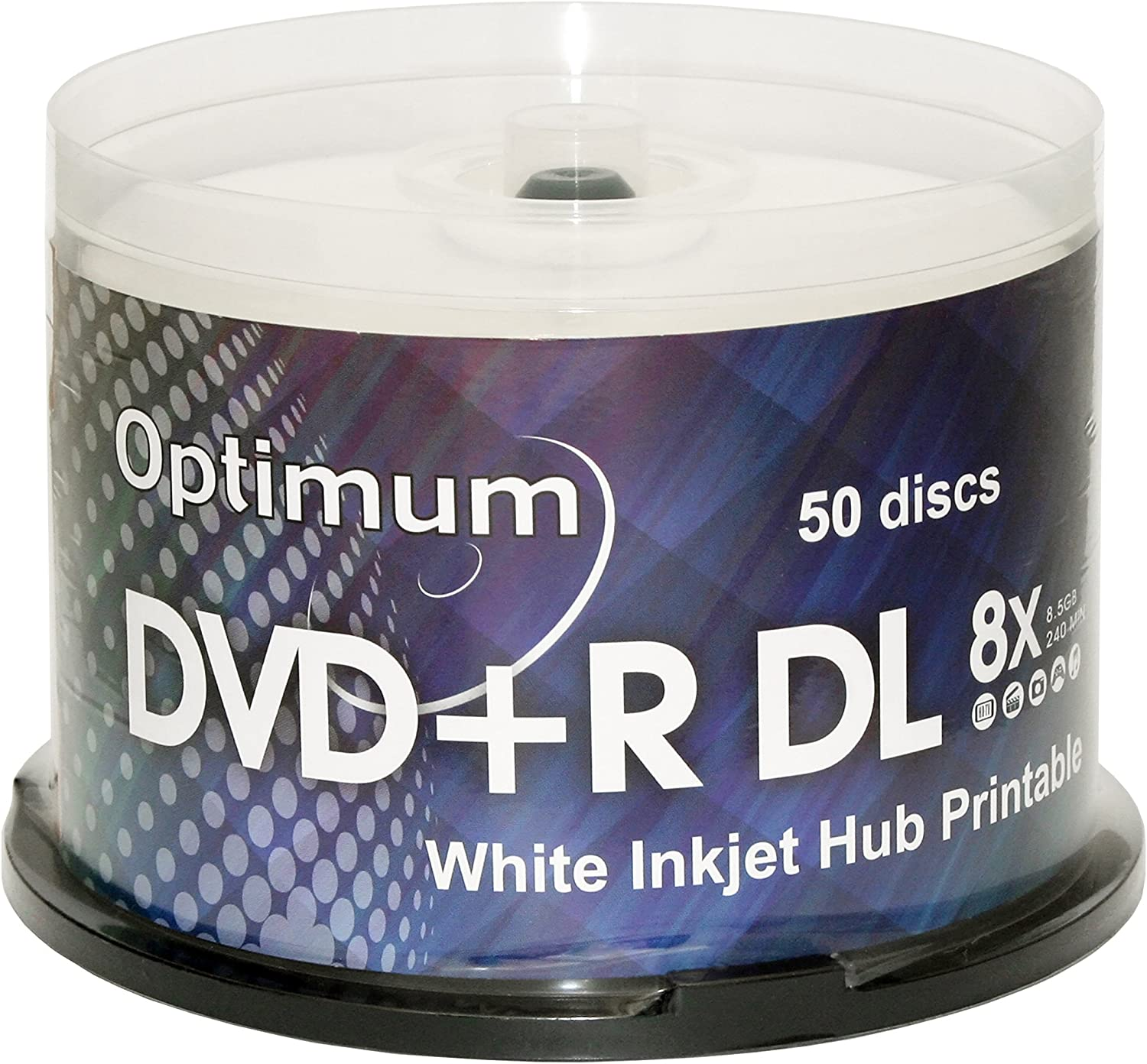Optimum DVD+R DL Double Layer 8X White Inkjet Printable 50pk in Spindle Cake Box