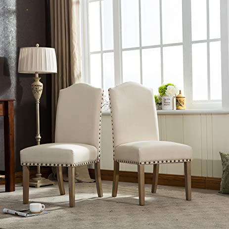 Roundhill Furniture Mod Urban Style Solid Wood Nailhead Fabric Padded  Parson Chair (Set Of 2
