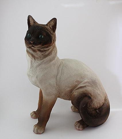 Gato decorativo de resina tamaño real. 36cm alturax28cm ...
