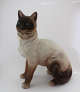 Gato decorativo de resina tamaño real. 36cm alturax28cm longitud (siamés): Amazon.es: Hogar