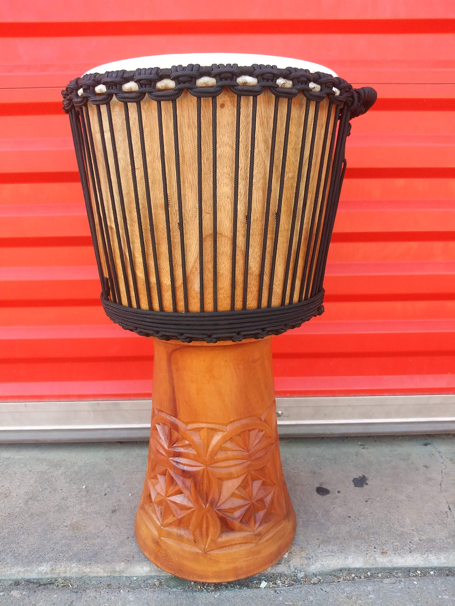 Large Beautiful 24'' Handmade Djembe Deep Carved Hand Drum - FREE HEAD COVER