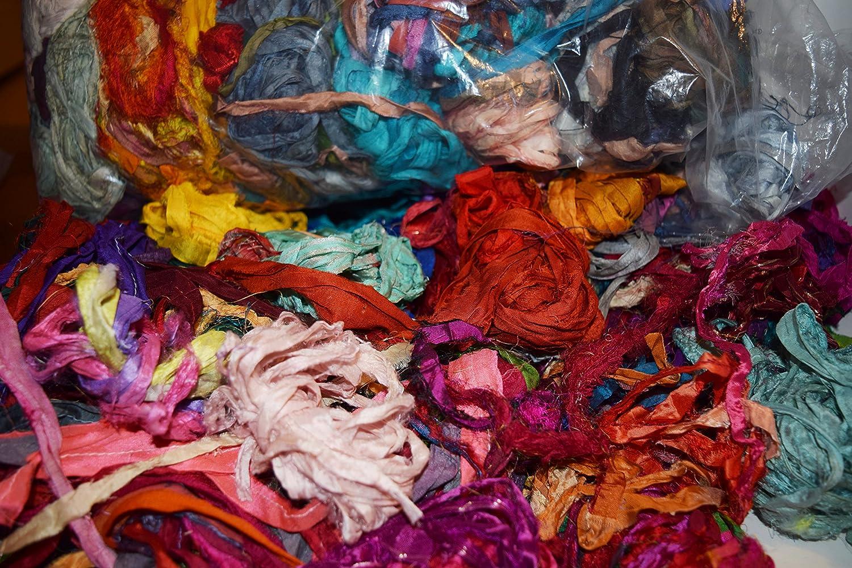 Sari de seda lazo 5 yarda Mini. Multicolor pestañas cinta de seda reciclados