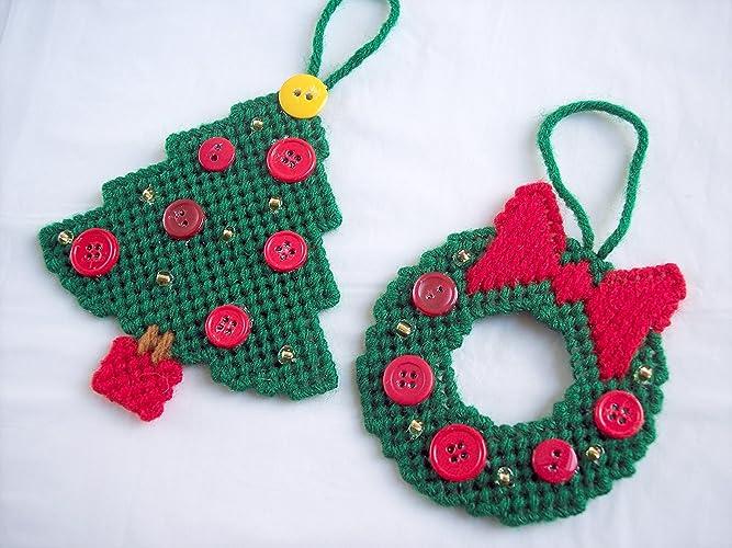 Plastic Canvas Christmas Ornaments.Amazon Com Christmas Wreath And Tree Ornaments Set Of Four