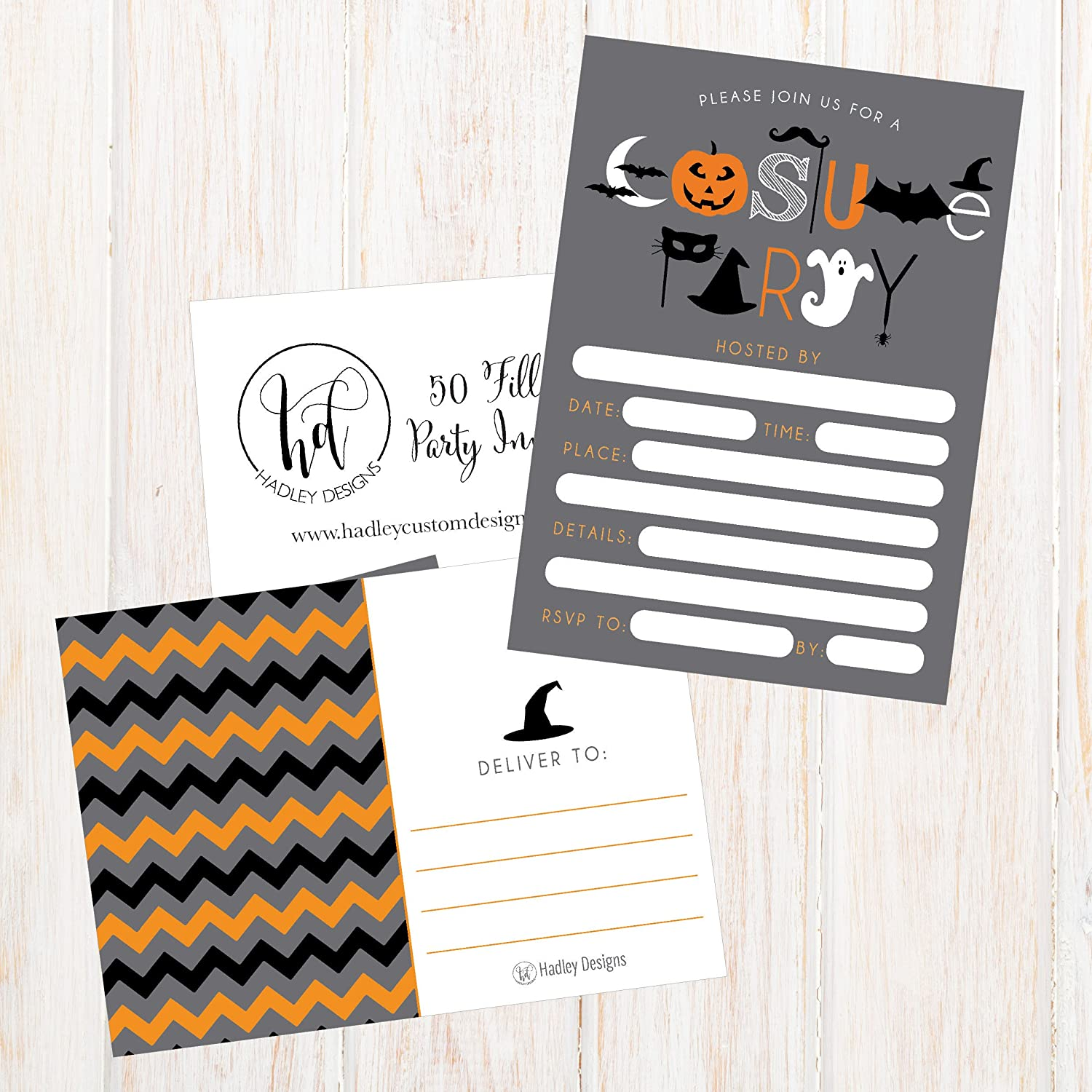 Amazon.com: 50 Halloween Costume Party Invitations, Kids Or Adults ...