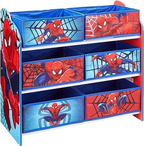 Marvel 866352 Meuble de Rangement pour Chambre d'Enfant avec 6 Bacs, Polypropylène, BleuRouge, 30 x 63,5 x 60 cm