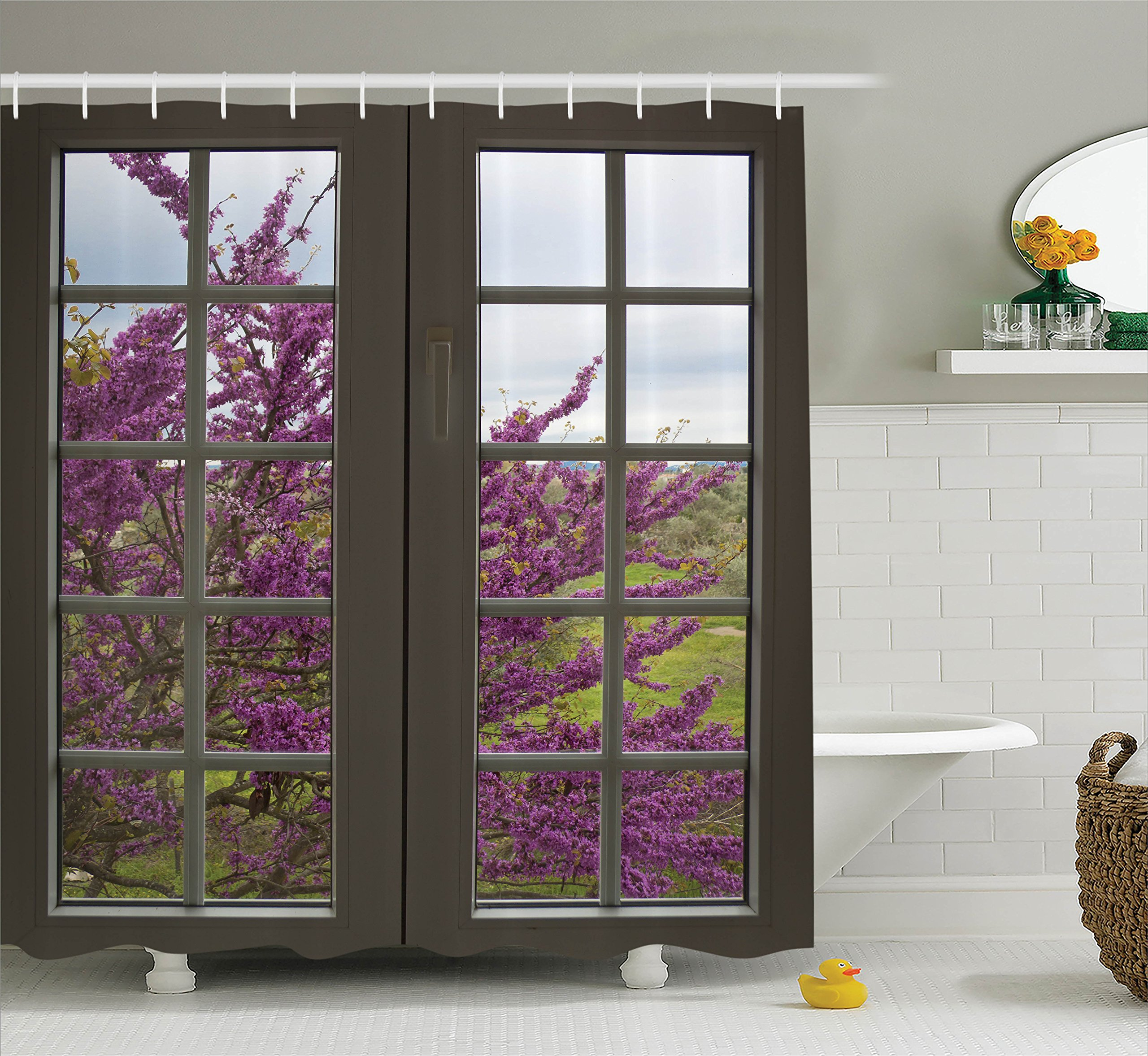 Ambesonne House Decor Collection, View Through the Window to the Countryside and Flowers Spring Blooms Branches Image Print, Polyester Fabric Bathroom Shower Curtain, 75 Inches Long, Gray Purple