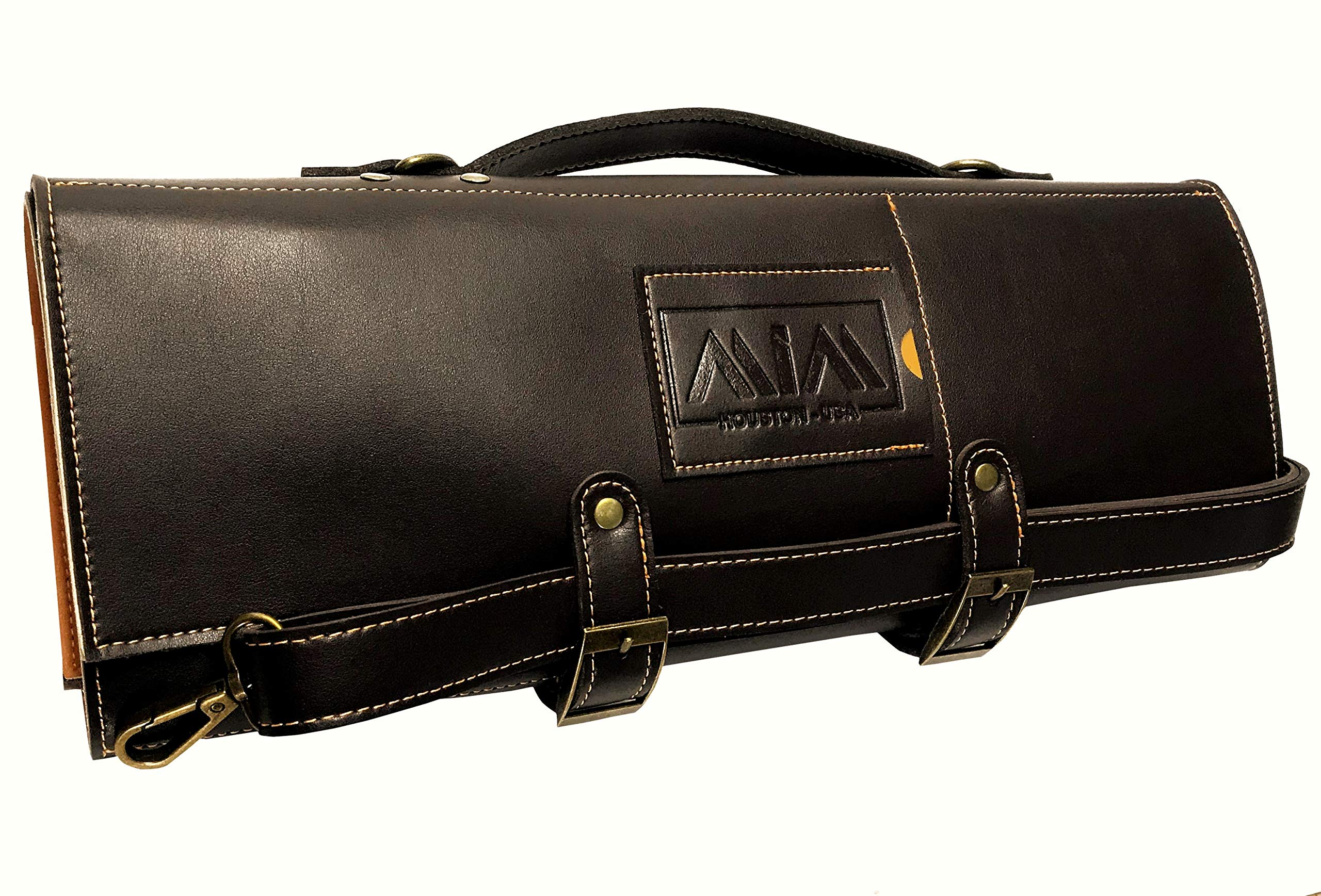 MiM Houston Chef Knife Bag | Large Chef Knife Roll Bag | Fine Leather | W/Business Card Slot | Dark Oak by MiM Houston (Image #2)
