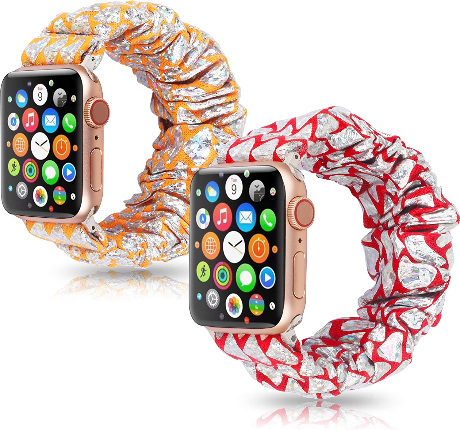 Dresible Compatible with Apple Watch bands scrunchies 38mm 40mm,Comfortable Cute Elastic Scrunchy Bands Hair Wristbands Replacement for iWatch Series 6/5/4/3/2/1, SE Orange/Red 38/40 2Packs
