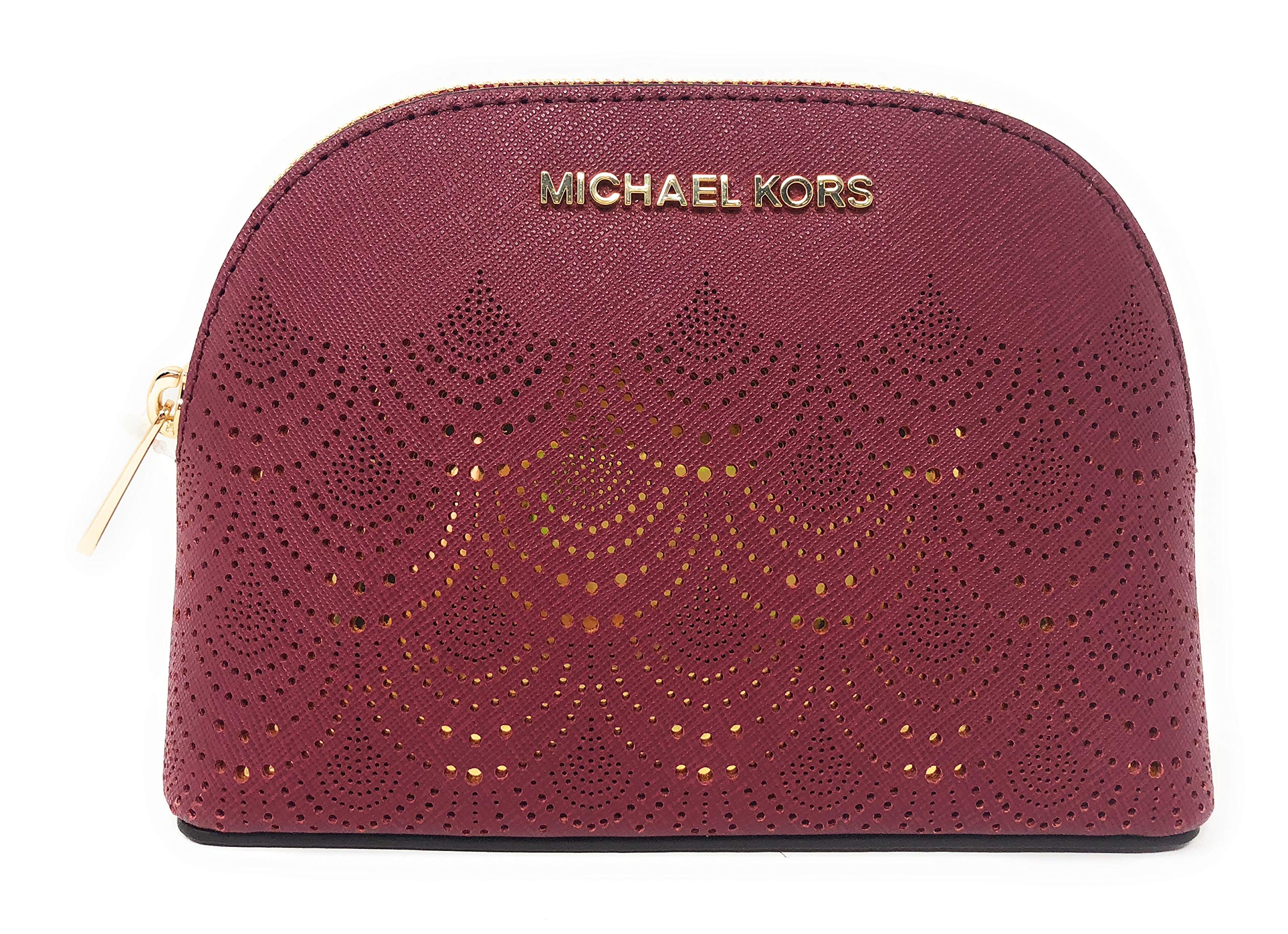 Michael Kors Jet Set Travel Saffiano Leather Women's Large Travel Pouch Cosmetic Case with Gold Toned Lace Accents (Mulberry)