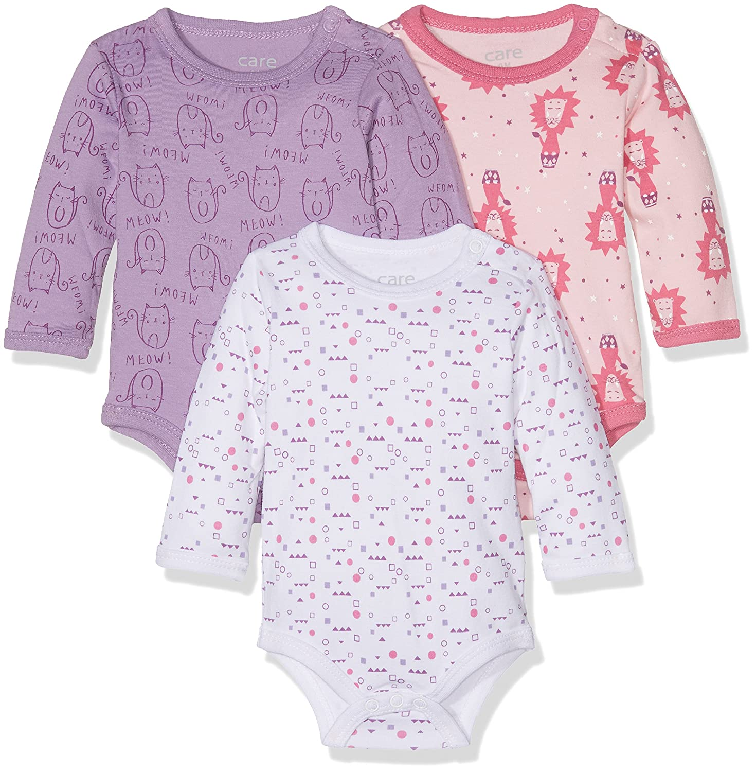 Care Baby Girls Bodysuit, Longsleeve, 3-Pack 4132