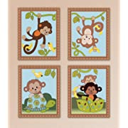 Curly Monkey Tails Nursery Art Prints (11 x14 , Set of Four)