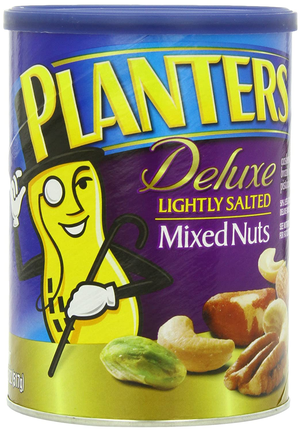 Planters Mixed Nuts, Lightly Salted Deluxe Mixed Nuts, 18.25 Ounce on planters salted peanuts, planters unsalted nuts, planters tube nuts, planters dry roasted peanuts,
