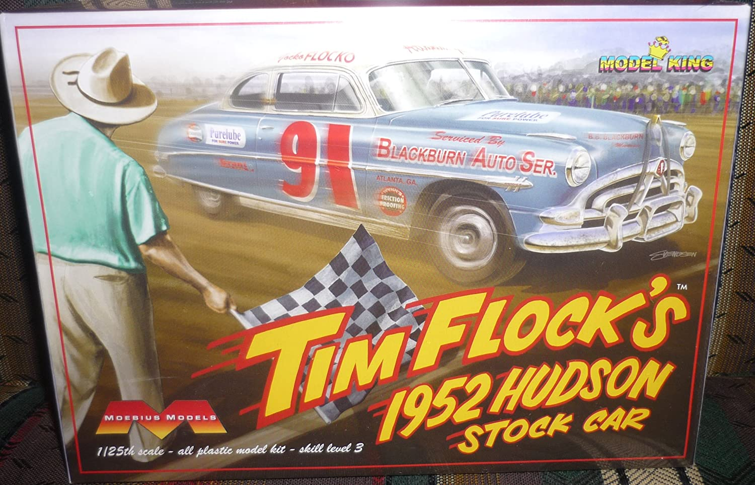 Moebius #1202 Models Tim Flock's 1952 Hudson Stock Car 1/25th Scale Model Kit,Needs Asembly by Moebius