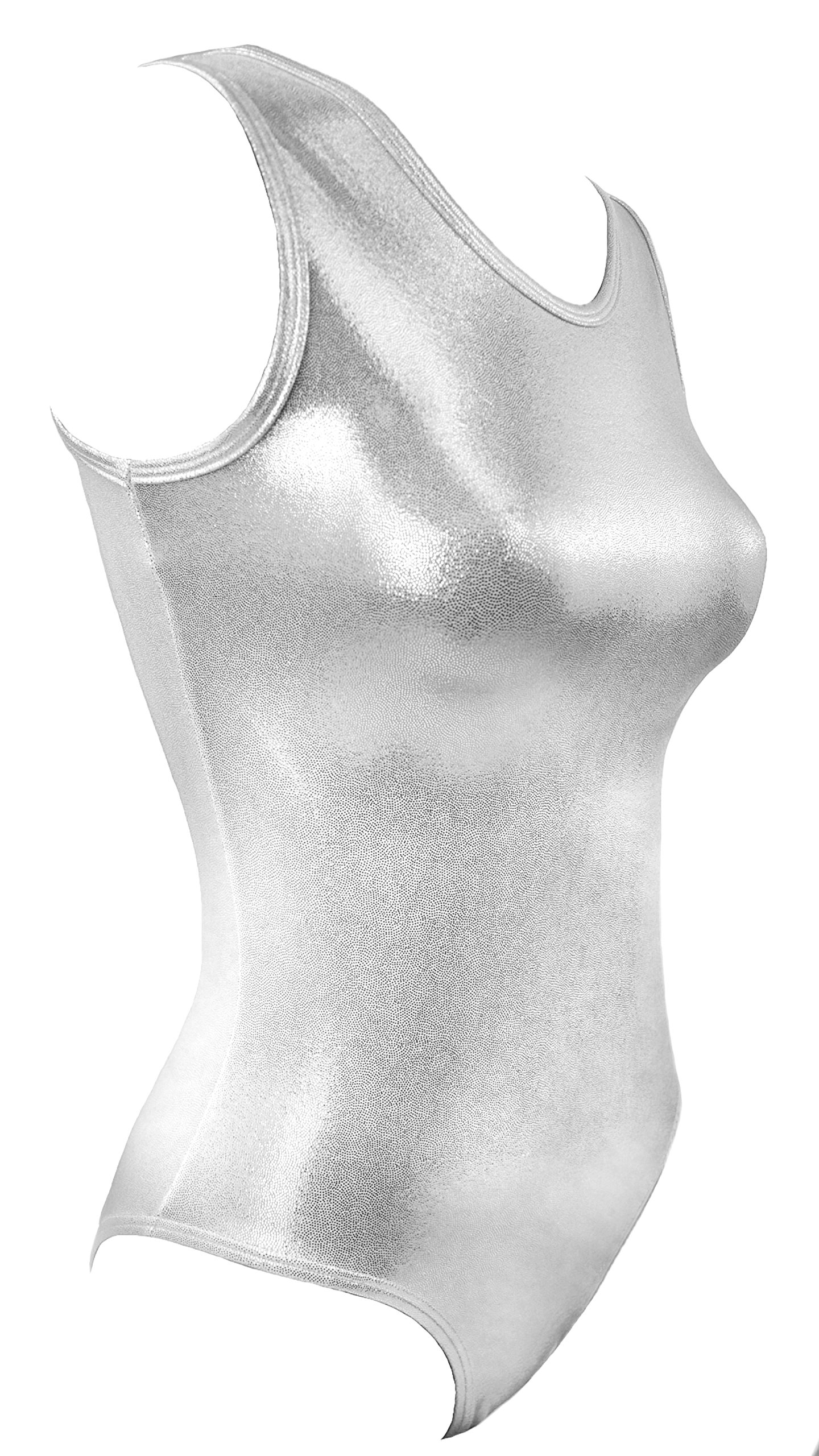 Sookie Active Metallic Sheen Classic Tank Leotard (White Silver, Ladies - Large)