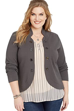 1dd667bf1ec maurices Women s Plus Size Military High-Low Blazer at Amazon Women s  Clothing store