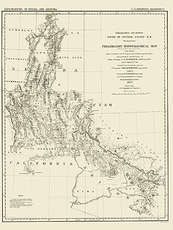 Amazon.com: Topographical Map - Nevada, Arizona Nevada, Arizona - US ...