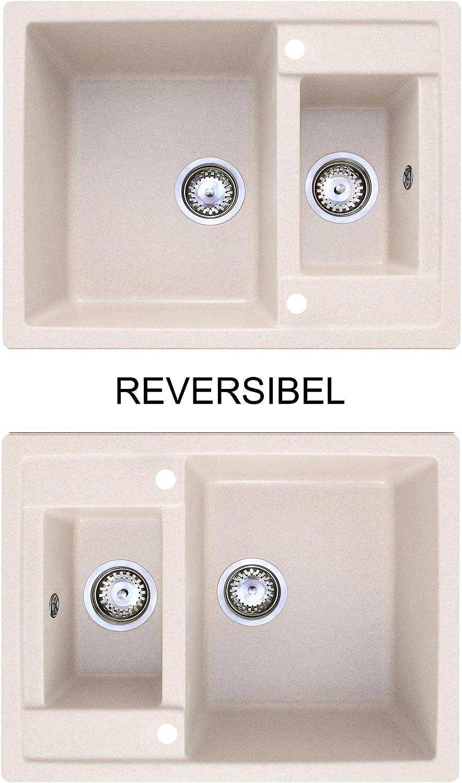 incl /Évier granit andreos 60/  /Évier encastrable /à partir de ANN/ÉES 1960/Meuble/ complet de tro //Évier de cuisine de 1,5/bac sans /égouttoir Rev/êtement anti-bact/érien