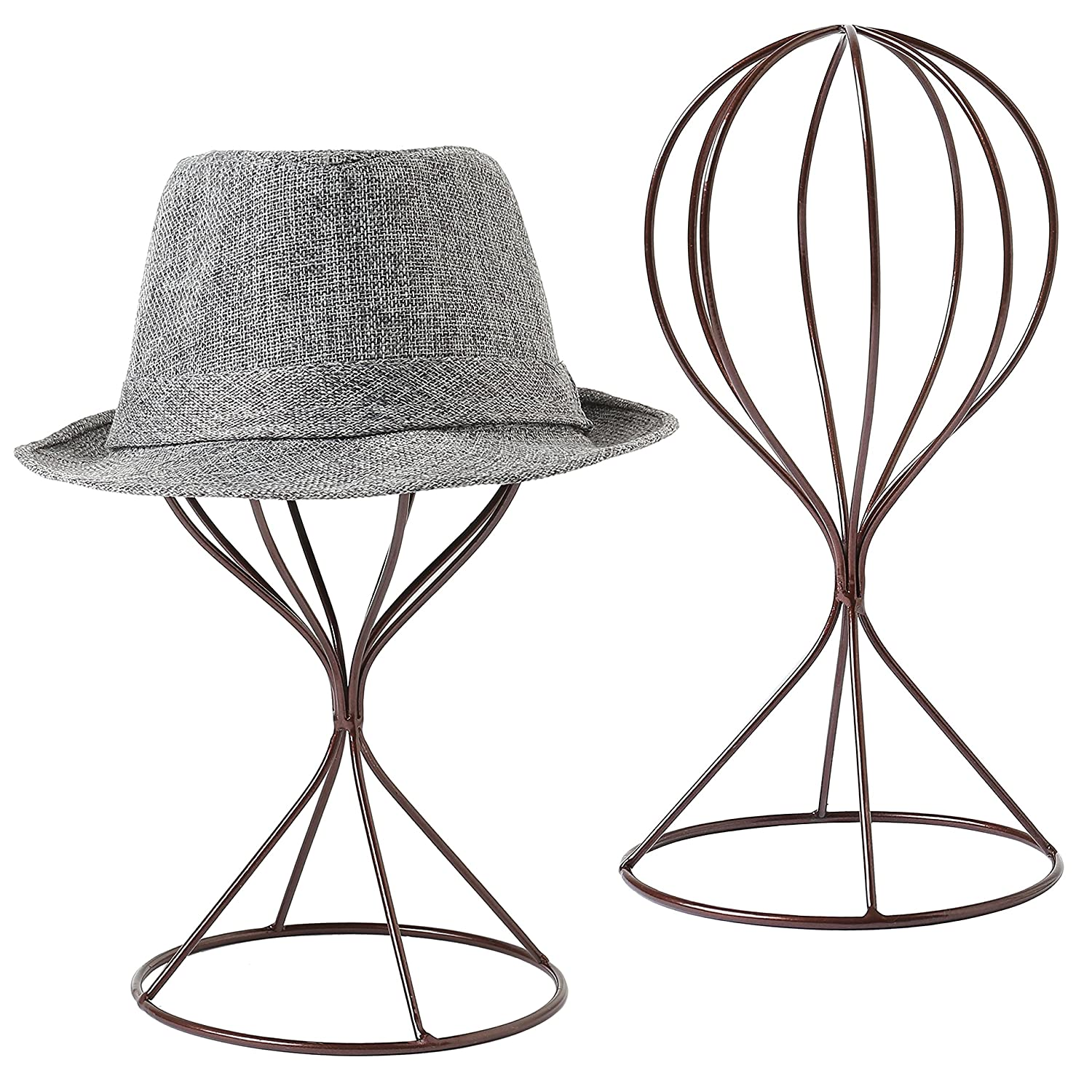 743dcd92e4845 A set of 2 freestanding hat holders with modern style and brown finishes.  Features a sturdy metal frame in the shape of a balloon for each stand.