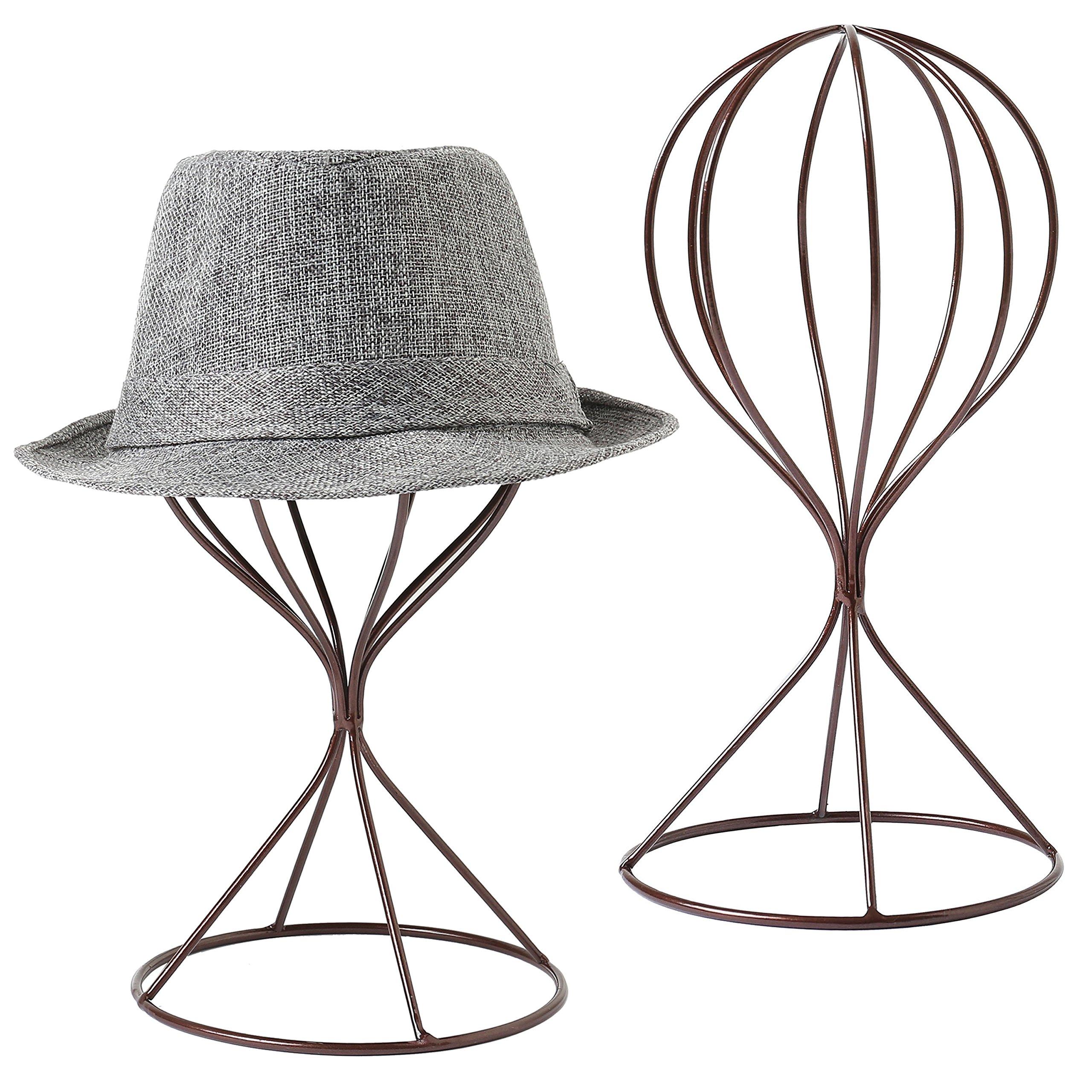 MyGift Modern Metal Hat Stands, Tabletop Decorative Wig Holders, Set of 2, Brown