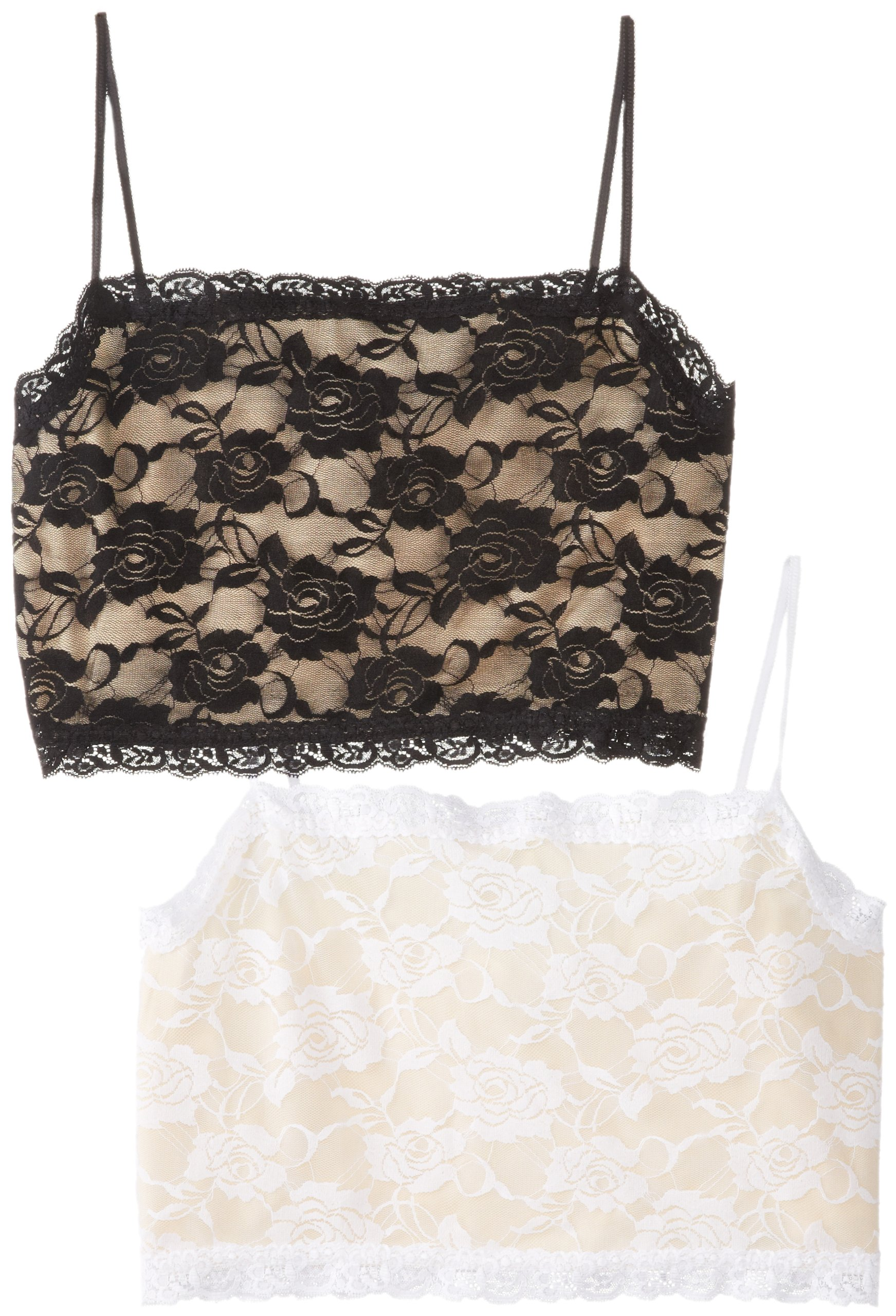 PURE STYLE Girlfriends Plus-Size Camiflage 2-Pack Plus Size Lined Stretch Lace Half Camisole, Black/Nude, 1X