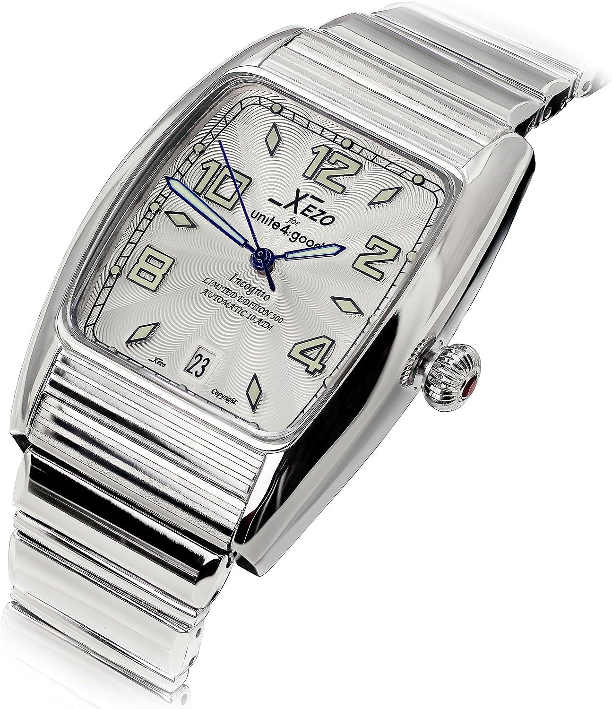 Xezo Reloj Tonneau Incognito para Hombre 10 ATM Resistente al Agua Movimiento automático Miyota 9015. Acabado Lujoso. Pulsera XL