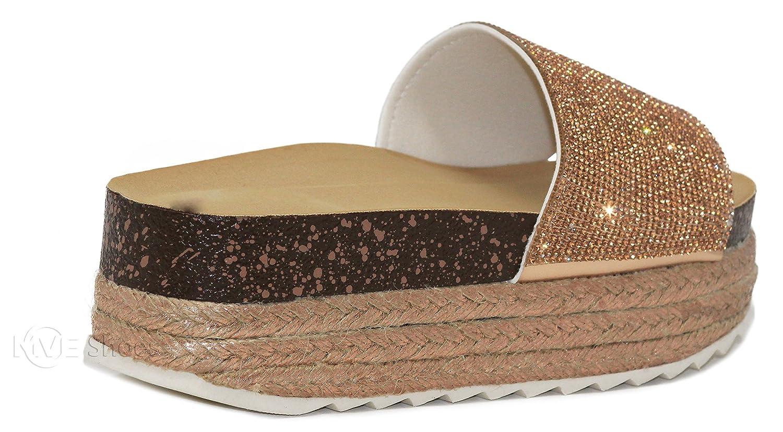 MVE Shoes Women's Slip On Flatforms - Cute Open Toe Summer Sandals - Fashion Espadrilles B07CBBY3BZ 11 B(M) US|Gold*11