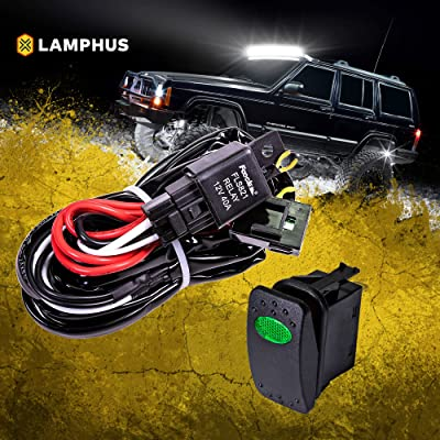 LAMPHUS 12V 40A Off Road LED Light Bar Relay Wiring Harness Kit for ATV/Jeep - Green ON/Off Switch: Automotive