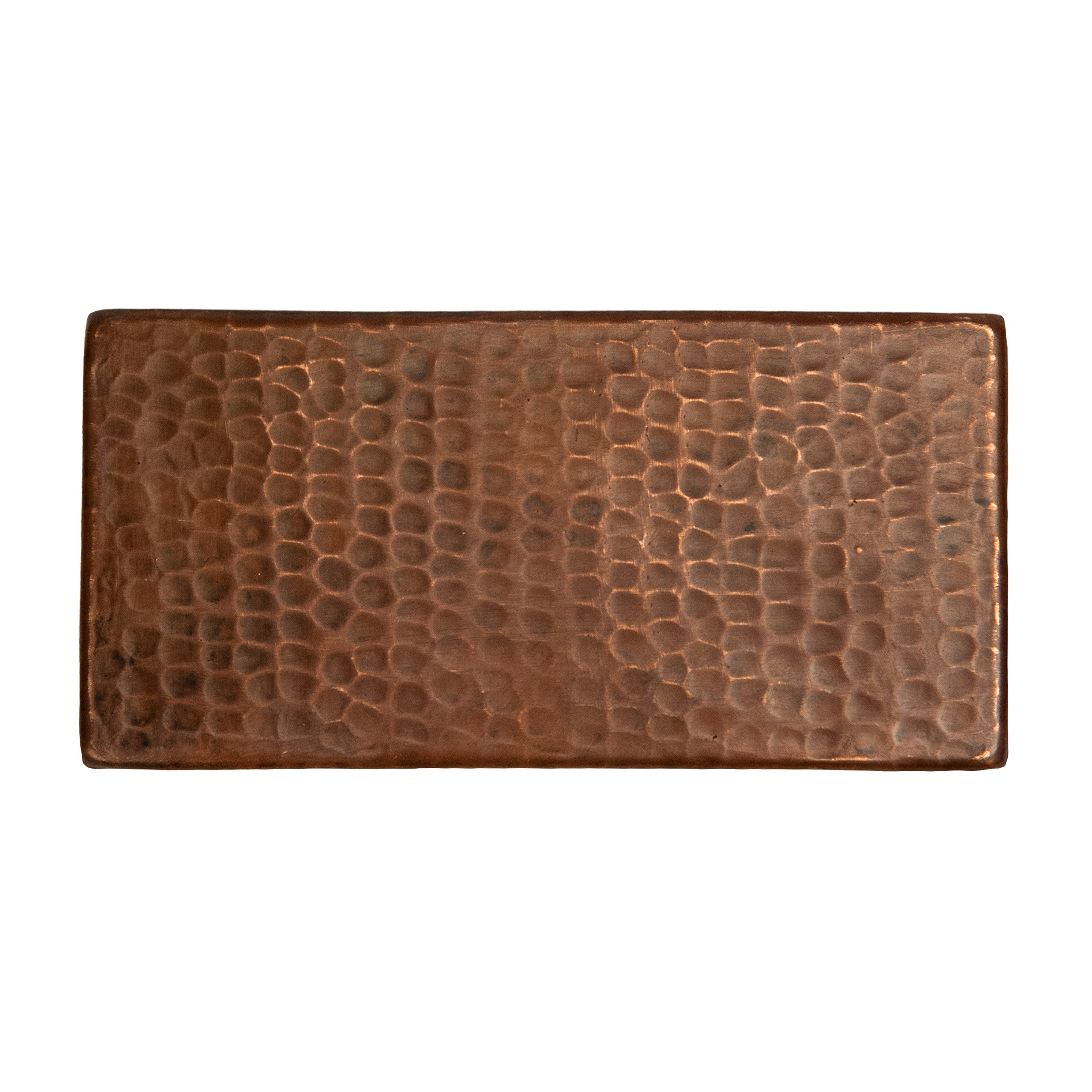 Premier Copper Products T36DBH_PKG4 3-Inch by 6-Inch Hammered Copper Tile - Quantity 4, Oil Rubbed Bronze