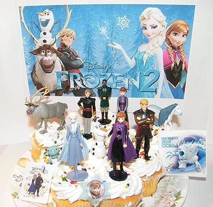 Amazon.com: Frozen - Juego de 2 decoraciones para tartas de ...