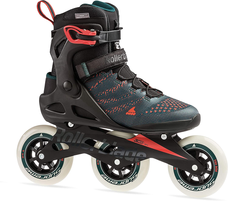 Performance Inline Skates Rollerblade Macroblade 110 3WD Mens Adult Fitness Inline Skate Teal Green and Orange Burst