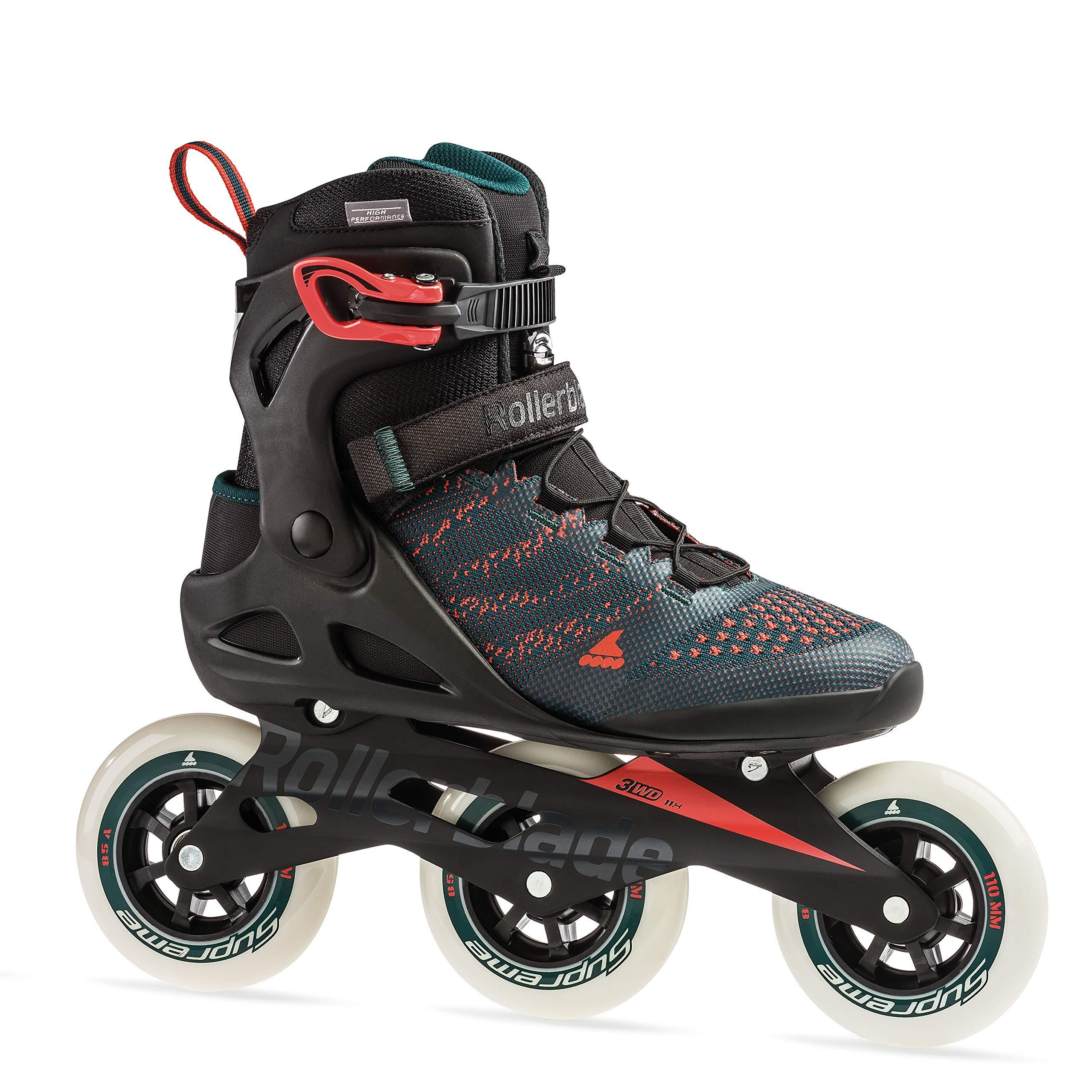 Rollerblade Macroblade 110 3Wd Men's Adult Fitness Inline Skate, Teal Green/Orange Burst, Medium 7.5