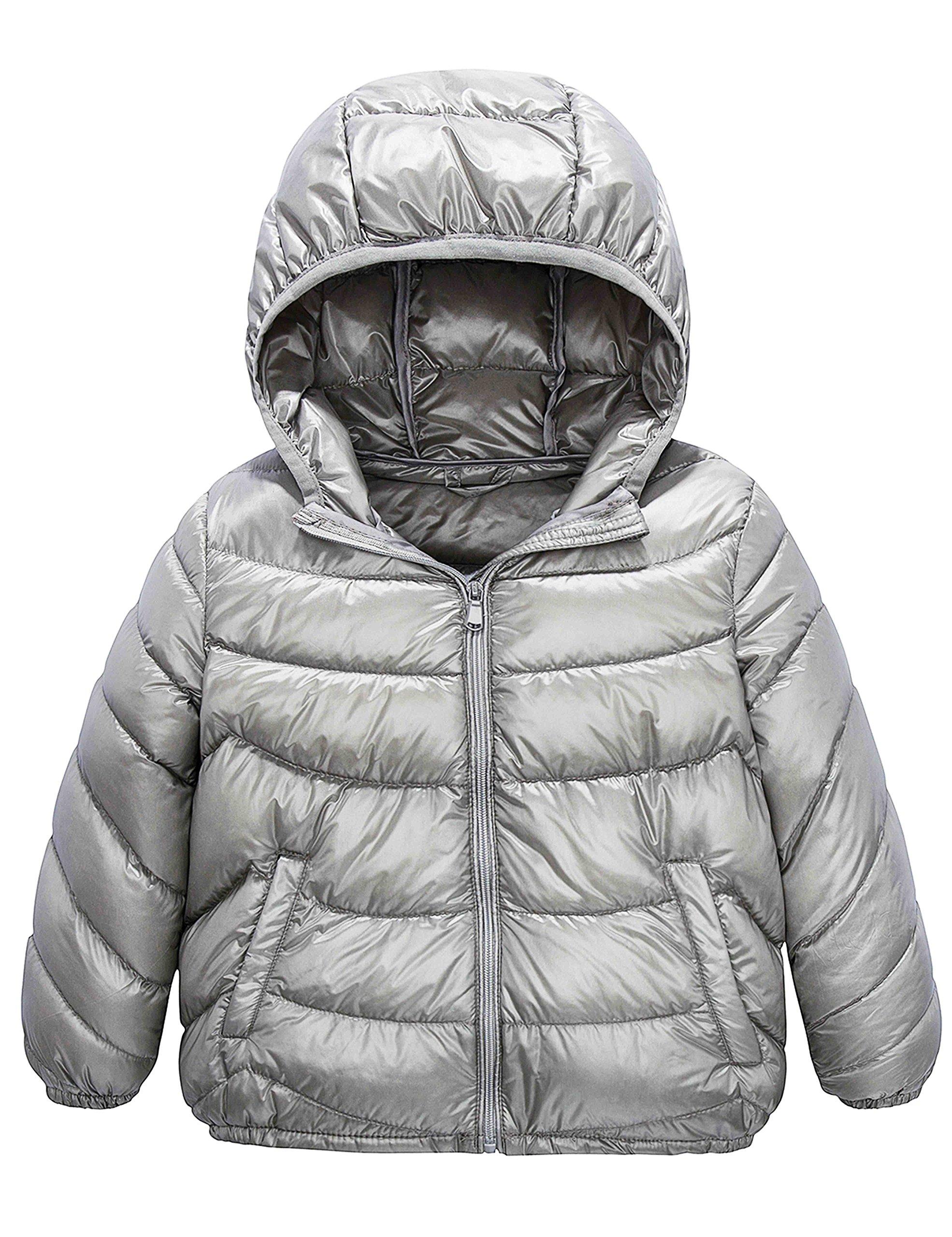 Lightweight Hooded Puffer Winter Jacket IKALI Kids Packable Down Coat