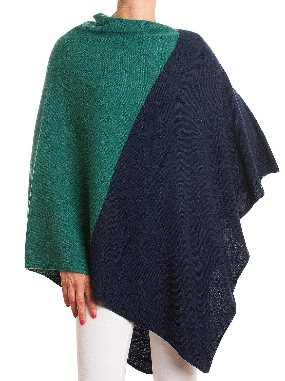 bluee Green DALLE PIANE CASHMERE  Poncho Bicolor 100% Cashmere  Made in