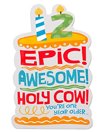 American Greetings Epic 12th Birthday Card With Glitter