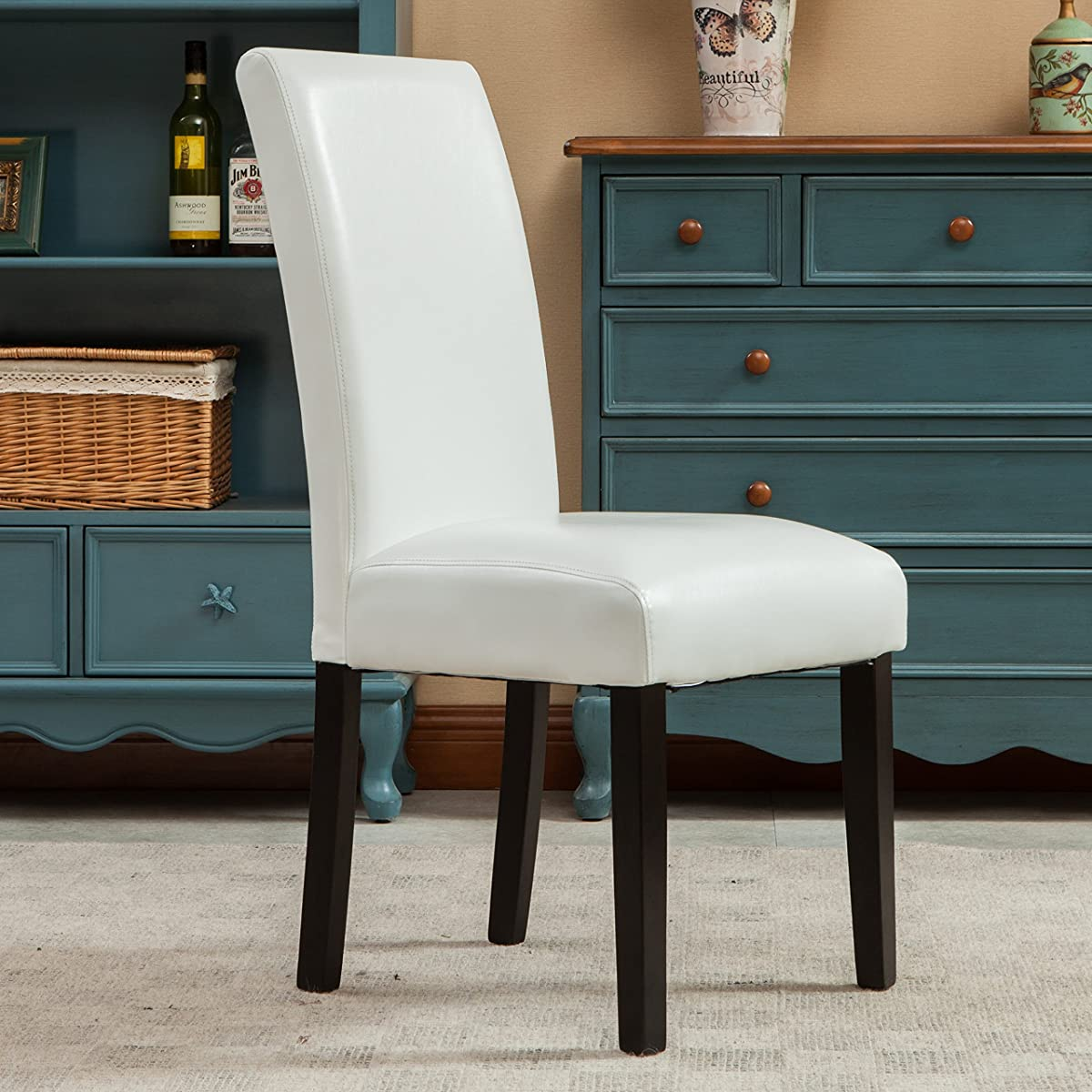 Roundhill Furniture Donatello Urban Style Solid Wood Leatherette Padded Parson Chair (Set of 2), White