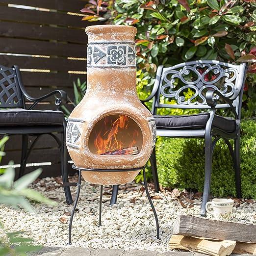 Oxford barbacoas Terracota Arcilla Chimenea Patio Calentador: Amazon.es: Jardín