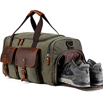 90686e59233 Amazon.com   BLUBOON Weekend Duffle Bag Canvas Overnight Travel Duffel Tote  Bag with Shoe Compartment Oversized Carry on Luggage Genuine Leather (Army  ...