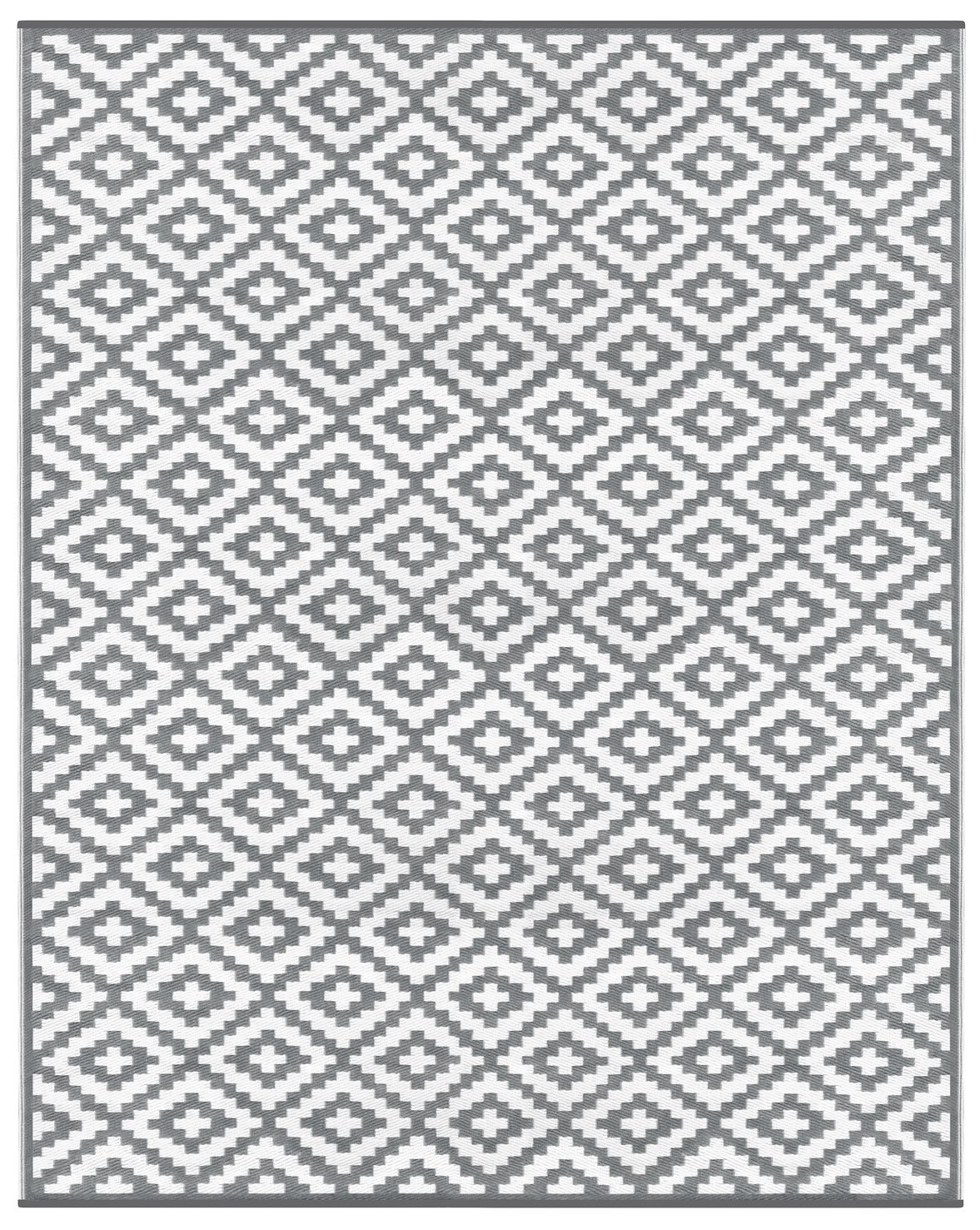 Lightweight Outdoor Reversible Plastic Nirvana Rug (8 x 10, Grey/White)
