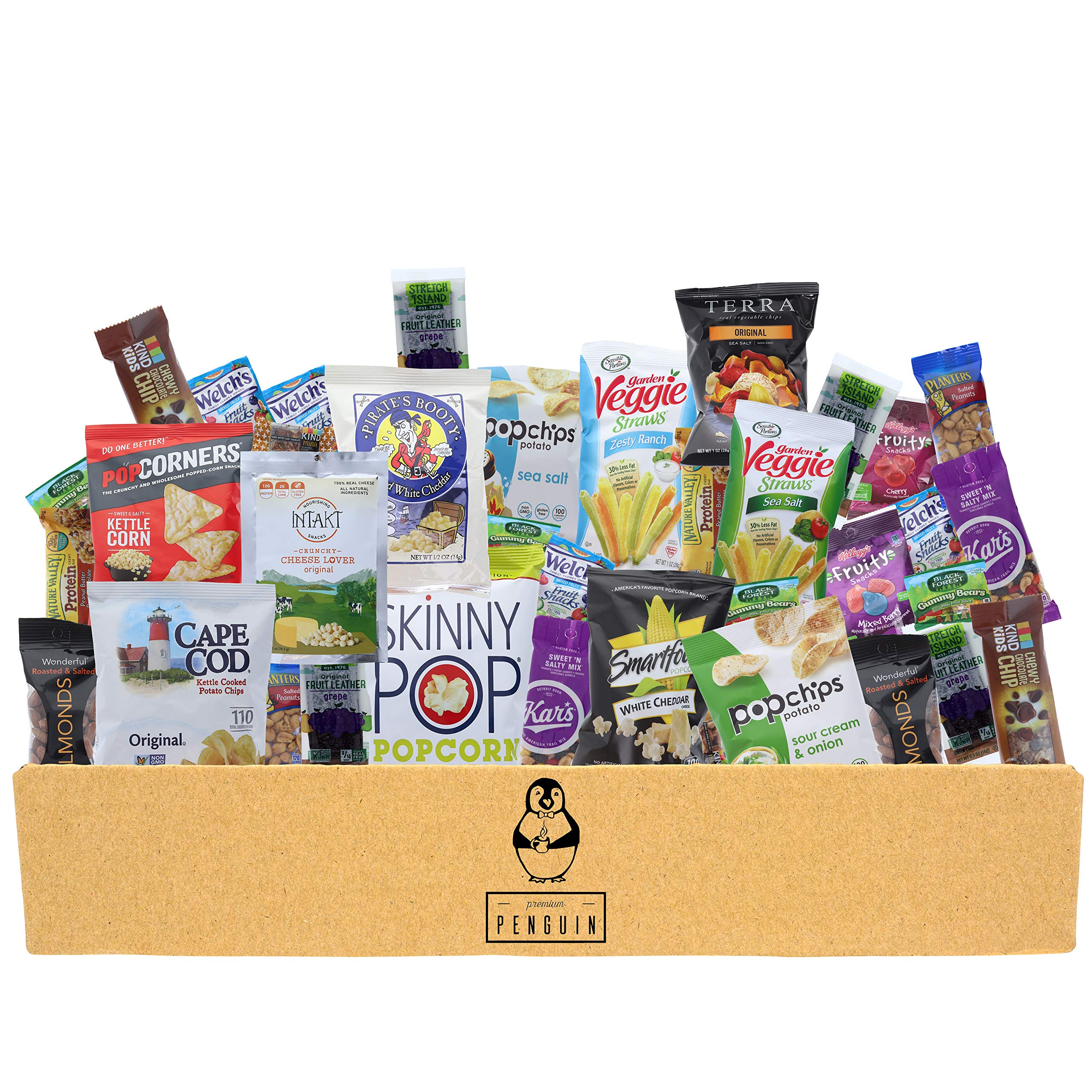 Gluten Free Snacks Care Package - 38 Count of Chips, Popcorn, Nuts, Granola Bars, Gummy Snacks, and More! Perfect for School, Office, Military, and More! by Premium Penguin
