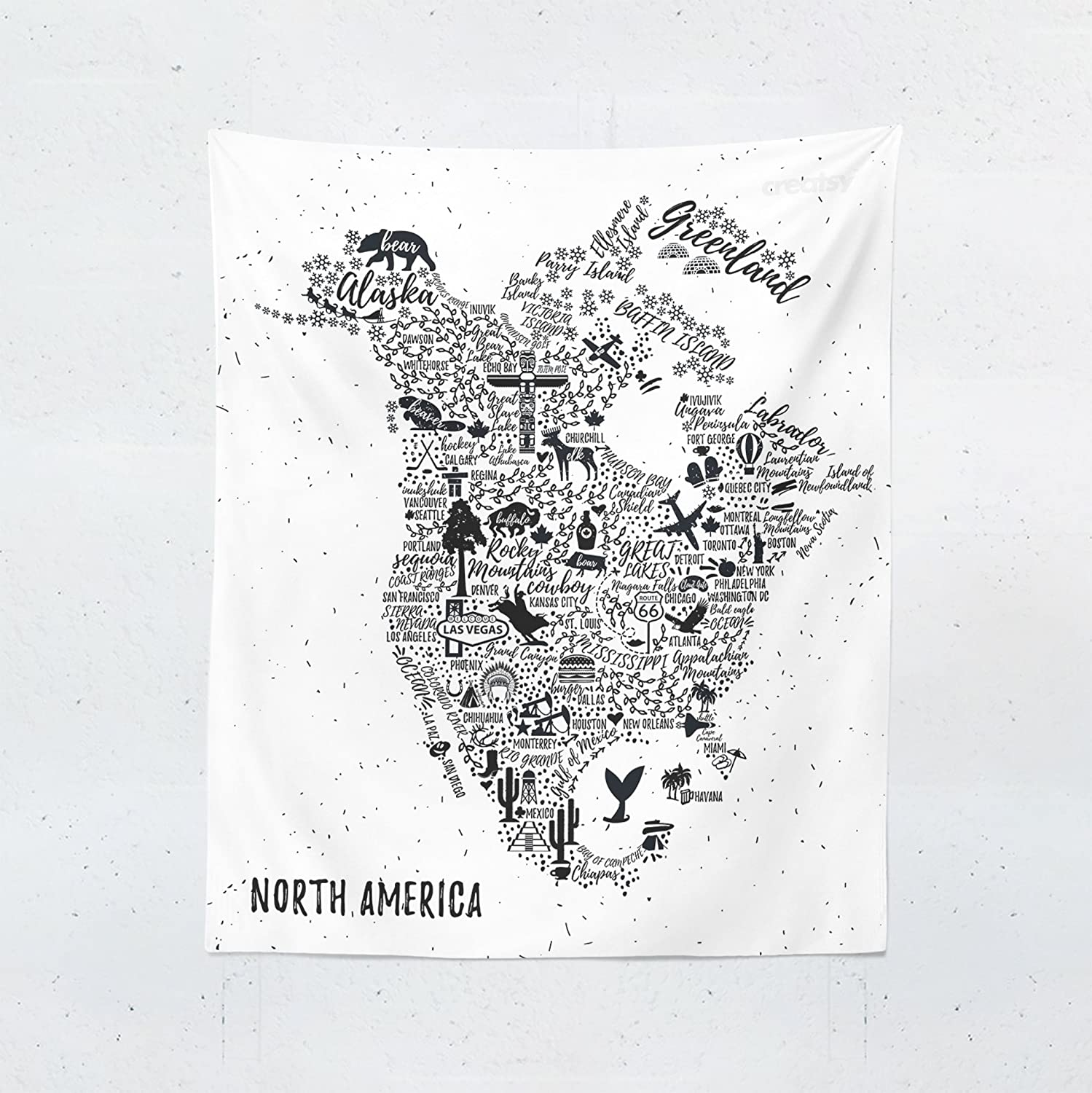 Amazon.com: USA Map Tapestry - North America World Map Canada United ...