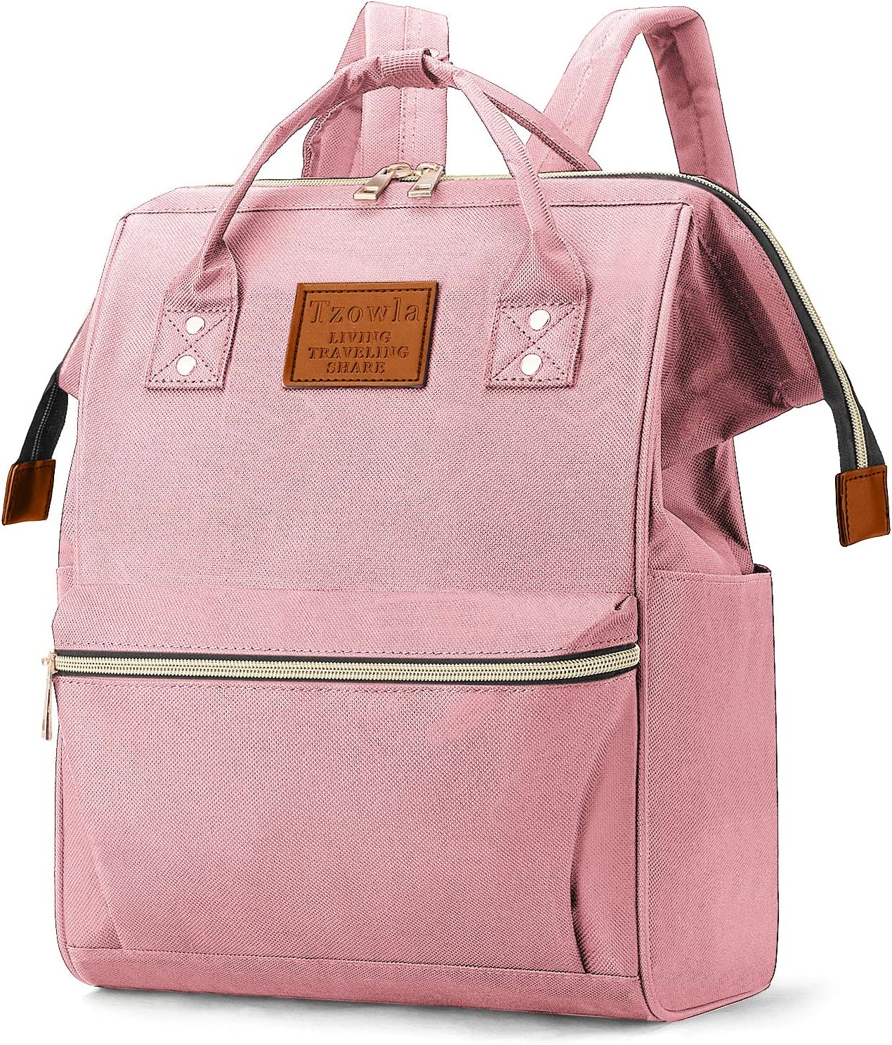 Tzowla College School Travel Laptop Backpack Book Doctor Shopping Bag Light Weight Casual Daypack for Women Men Girls Boys Student Fit 14 inch Compter Netbook-Pink