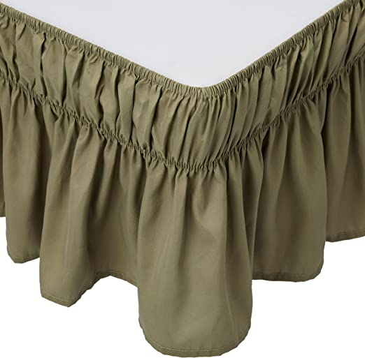 Mk Collection Wrap Around Style Easy Fit Elastic Bed Ruffles Bed-Skirt Twin-Full Solid Brown//Choclate New