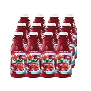 Tropicana Cranberry Juice, 32 oz Bottles, 12 Count