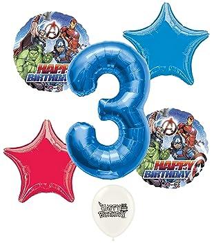 Amazon.com: Marvel Avengers azul número 3 A fiesta de ...